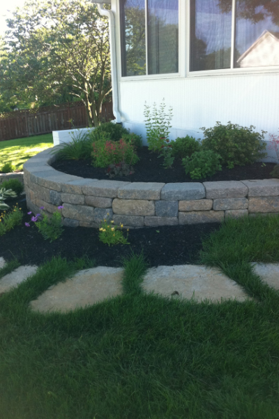 Retaining Wall with Stone Walk Way