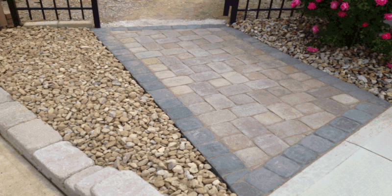 Side walkway, landscaping and Brick Pavers